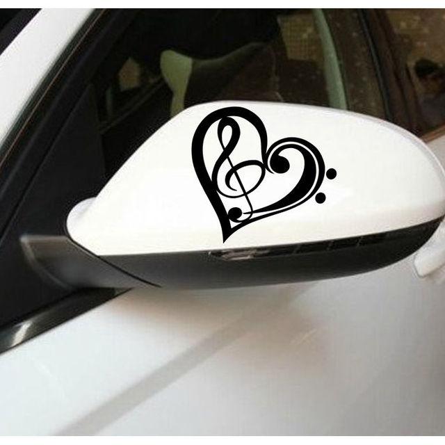 Removable wall decor music treble heart car window stickers body bumper sticker art home room wall