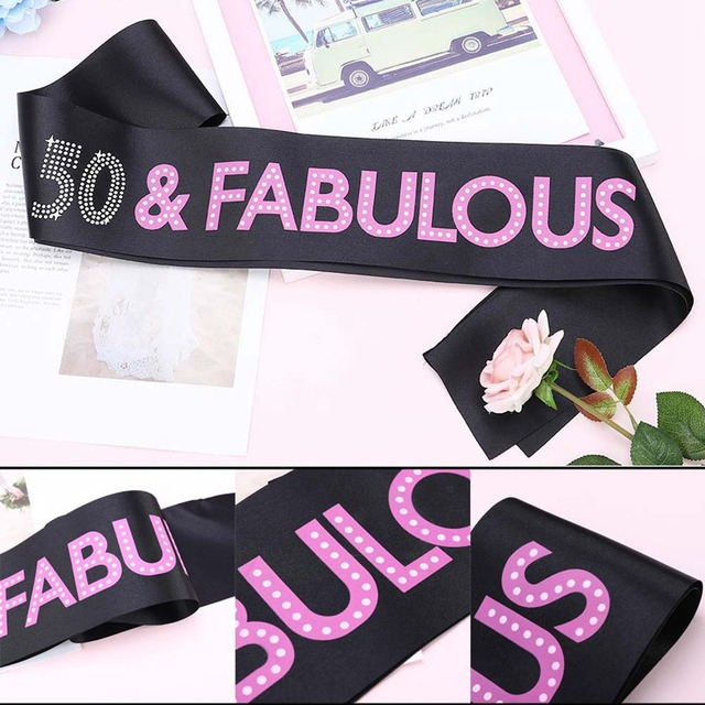 New 50 FABULOUS Rhinestone Satin Sashes 50th Birthday Party Decorations Black DIY