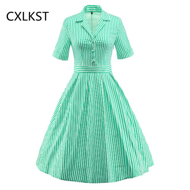 314b5d76612a1 CXLKST Women's Summer Elegant 50s 60s Vintage Hepburn Style Short Sleeve  Notched Neck Striped Casual Party Cocktail Swing Dress