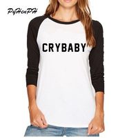 2017 Nieuwe Collectie Harajuku Cry Baby T-Shirt Vrouwen Zomer Herfst Volledige Mouw Huilebalk T-shirt Casual Tumblr Kleding