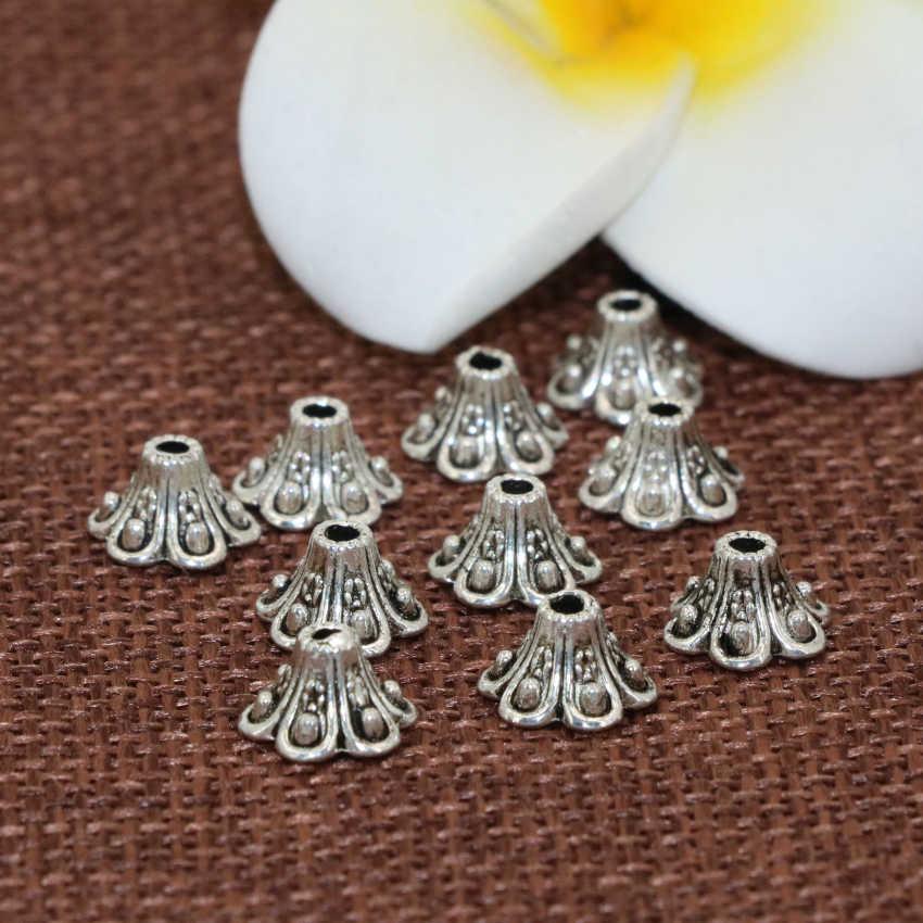 Haute qualité Tibet argent-couleur 5*9mm prix de gros 20 pièces fleur forme entretoises perles casquettes bijoux résultats accessoires B2532