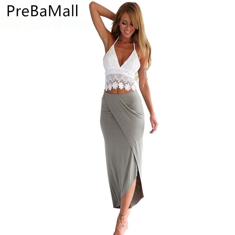 Chic Women Two Piece Set Spaghetti Strap Sexy Crop Lace Vest Sling Tops And Long Skirts Set Ladies Outfits Clothing C136 in Women 39 s Sets from Women 39 s Clothing