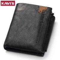 KAVIS Genuine Leather Wallet Men Small Portomonee Fashion Pocket Money Bag Coin Purse PORTFOLIO Male Cuzdan