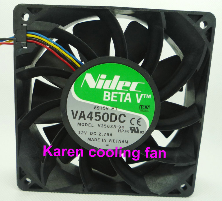 Nidec 12CM VA450DC V35633-94 12038 12V 2.7A 4WIRE COOLING FAN nidec d12e 12ps2 01b 12038 120mm 12cm dc 12v 1 70a 12 cooling fan server inverter case cooler