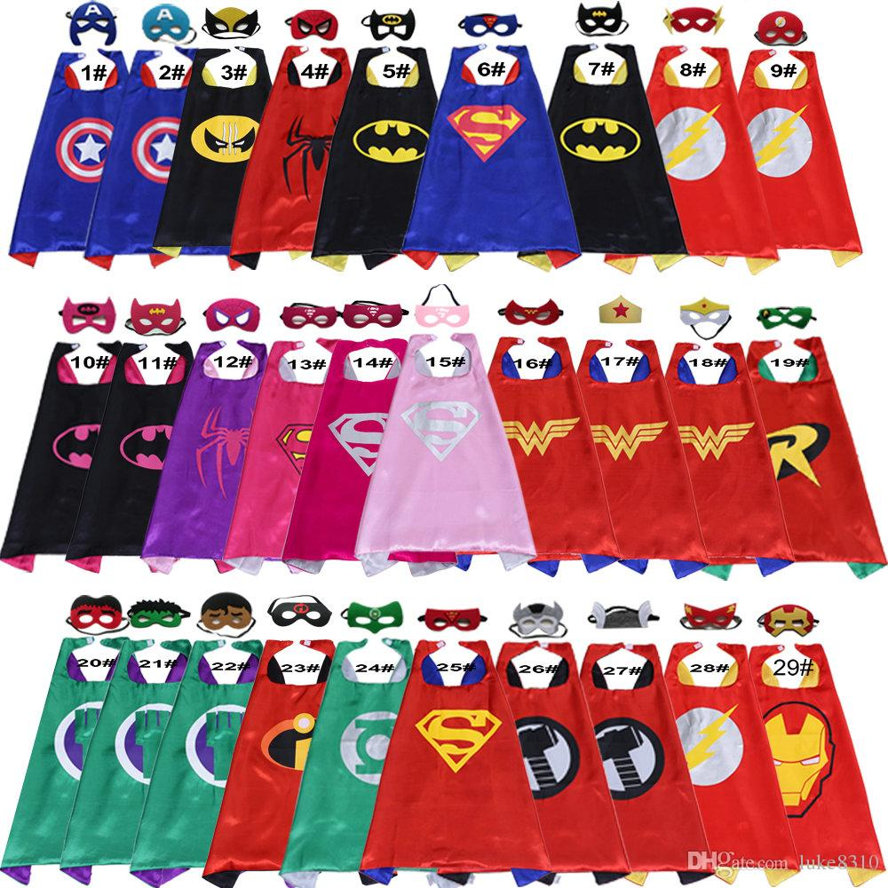 Kids Superhero cosplay Costumes Boys and Girls Capes with Masks set Party Favor Dress Up Cosplay clothes Free shipping