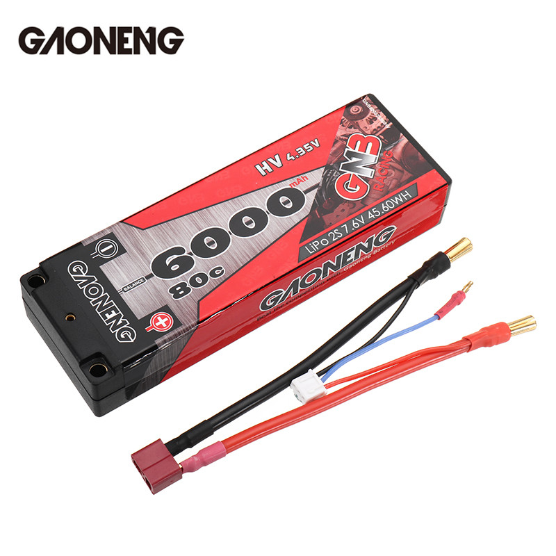 Gaoneng GNB 7.6V 6000mAh 110C 2S HV Lipo Battery T Plug For 1:10 RC Car Racing Drone High Power Batteries Spare Parts Accessory gaoneng gnb 11 1v 350mah 50c 100c 3s lipo battery jst xt30 plug connector for rc racing drone fpv quadcopter toy spare parts