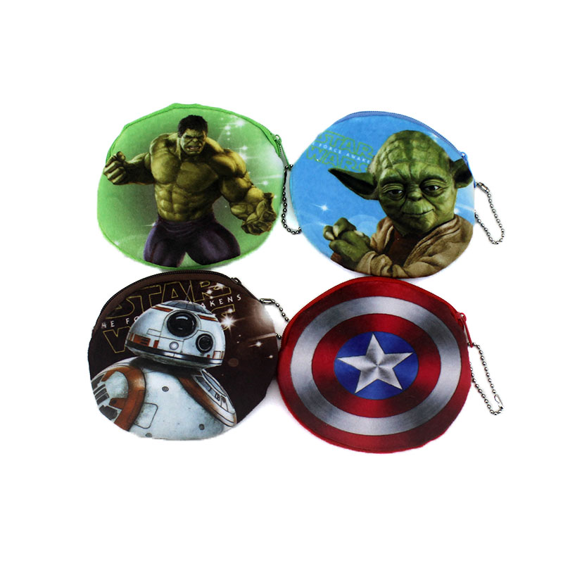 New Oval Cartoon Star Wars Superman Zip Coin Purse Cute Children Plush Purse Bag Kids Girl Small Change Purse Wallet Card Holdes cute butterfly student coin purse chinese style children canvas zip change mini purse women wallet animal key card bag kids gift
