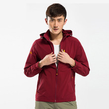 Spring summer Men Quick drying Elastic trench Coat Camping Hiking Long sleeve Sports dust coat Men
