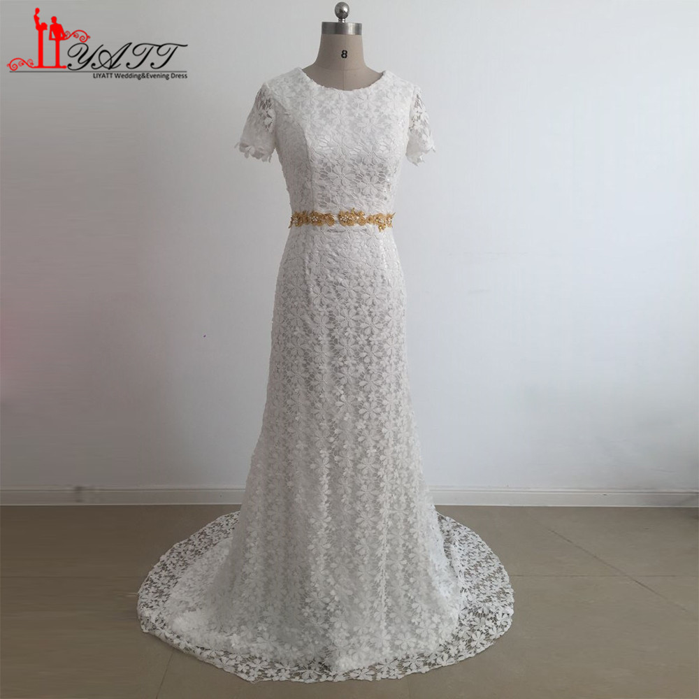 Classic Bridal Gowns Cap Sleeve Lace Bohemian Wedding