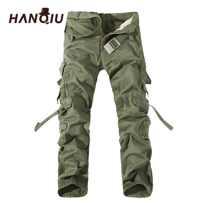 HANQIU 2020 Mens Cargo Pants Brand Trousers High Quality Cotton Male Pants Plus Size 28-42