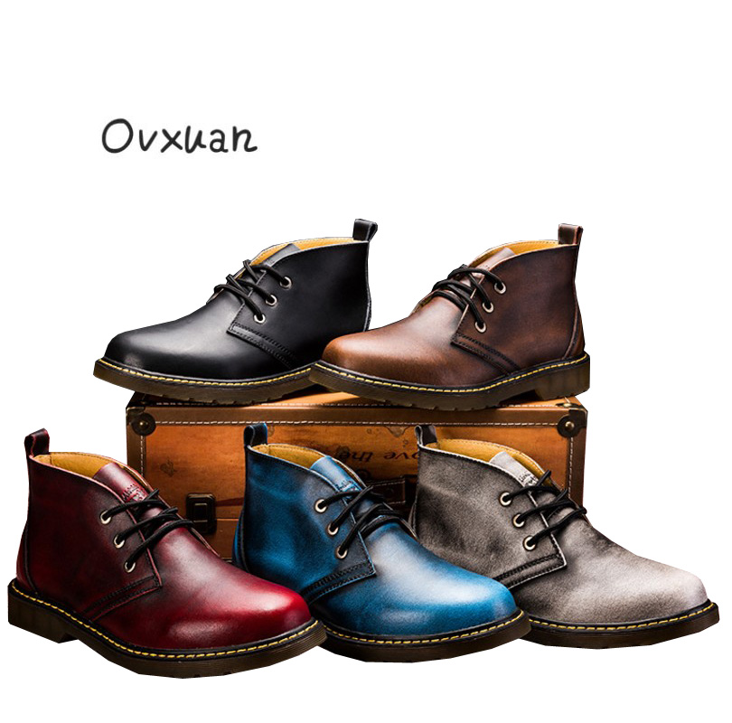 Ovxuan Factory direct sales 100% Genuine Leather Ankle Boots Male Shoes Fashion Vintage Handmade Casual Shoes Working Shoes Men rear bumper protector back door sill sucff plate for chevrolet chevy epica 2011 2012 stainless steel 1pc