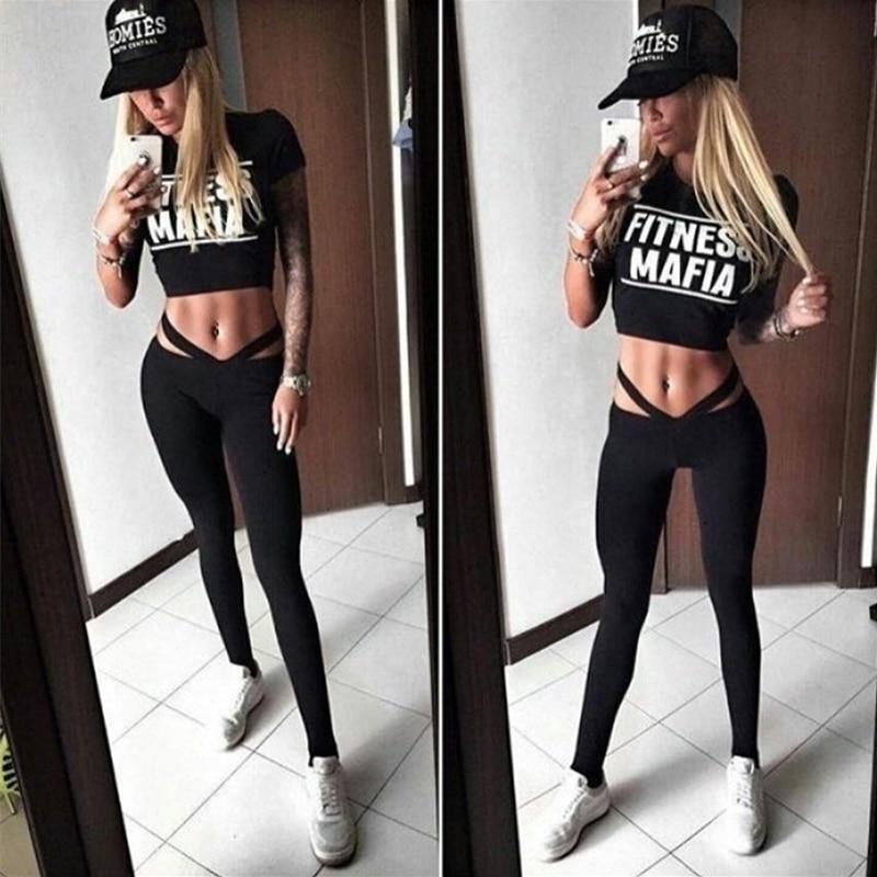 JLZLSHONGLE Sexy Black Fitness Women Tracksuit Fashion Letter Print Crop Tops And Slim Leggings 2 Piece Sets Cotton Sportswear