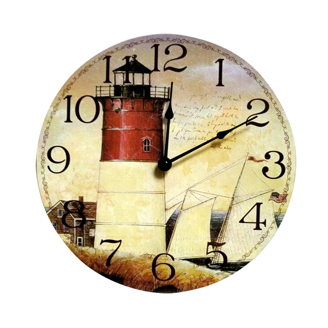 Free Shipping Wooden Wall Clock Modern Design Vintage Rustic Shabby ...