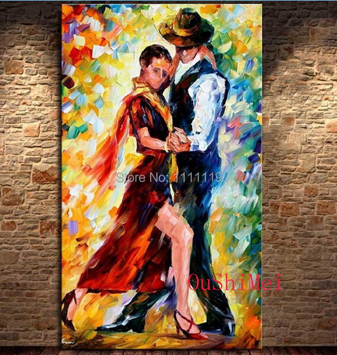 Hand Painted Modern knife Pictures On Canvas Beautiful Tango Dancer Oil Painting For Decor Wall Abstract Painting Hang Craft