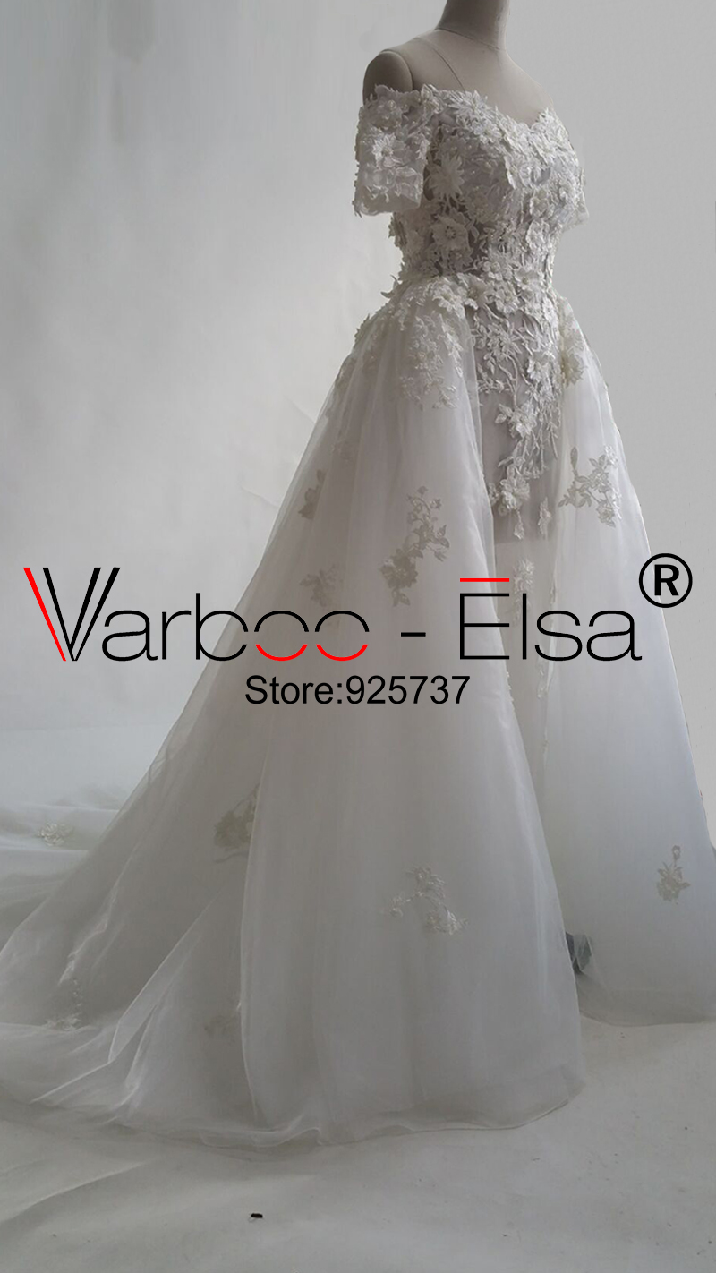 Wedding Dresses Varboo_els Romantic Sweetheart Wedding Dress White Organza Lace Embroidery Bridal Ball Gown 2018 Sexy Off Shoulder Wedding Gowns Professional Design