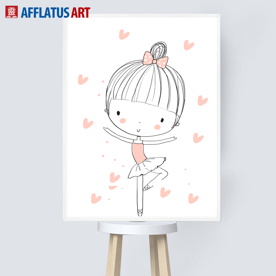 Ballet Girl Pink Heart Wall Art Canvas Painting Cartoon Nordic Posters And Prints Baby Girl Wall Pictures For Kids Room Decor in Painting Calligraphy from Home Garden