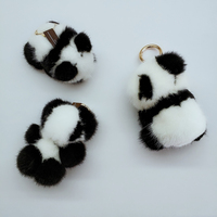Ptslan Keychain Fluffy panda mink fur Key Chain Keyring Bag Charm Trinket cute fashion for women's bag P3825