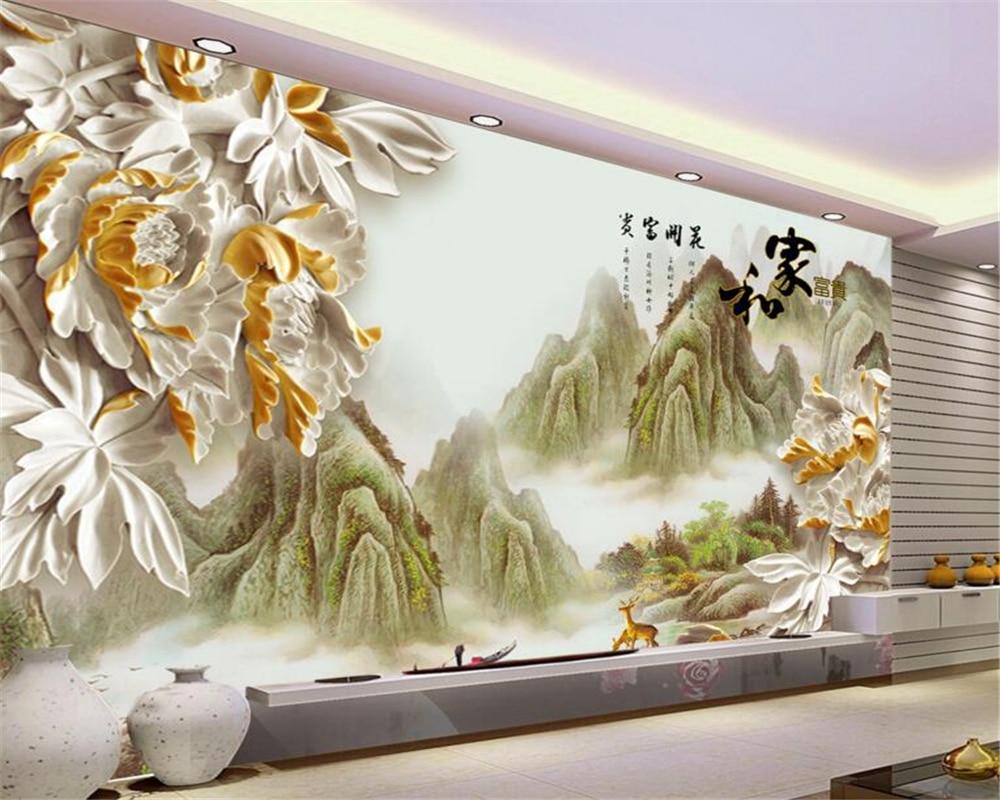 US $8 85 OFF Beibehang Dekorasi Rumah 3D Wallpaper Foto Ruang Tamu Kamar Tidur Mural Ukiran Kayu Peony Lukisan Kertas Dinding Paper Baking Paper