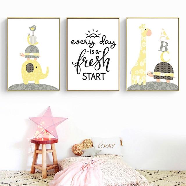 Cartoon Animal Elephant Giraffe Posters and Prints
