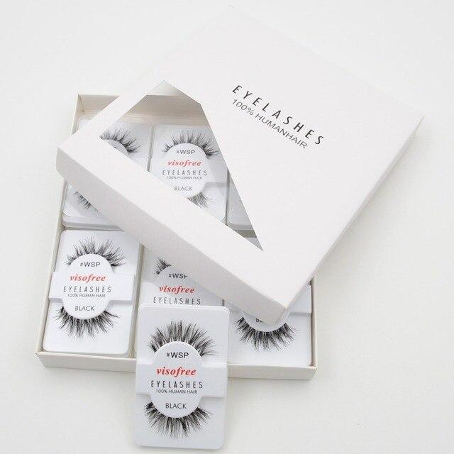 12 ריסי זוגות מכונף 100% שיער אדם עבודת יד ריסים מלאכותיות איפור ריסים מלאכותיים מינק maquillaje לשימוש חוזר עבור visofree 48