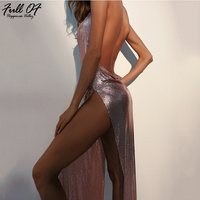 Luxury Club Women Sexy Metal Chain Crystal Party Dresses Maxi Summer Halter Gold silver Backless Sequins Long Dress Vesitos 2018