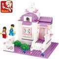 Sluban bloques de construcción modelo set amigos block pink dream series 0156 dulce cottage niños reunidos juguetes compatible leping