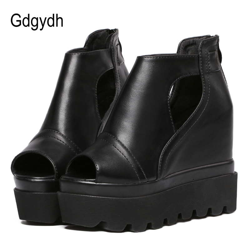 Gdgydh Peep Toe Spring Women Pumps Fashion Zipper Thick High Heels Shoes Women Ladies Platform Wedges Summer Shoes Drop ShippingGdgydh Peep Toe Spring Women Pumps Fashion Zipper Thick High Heels Shoes Women Ladies Platform Wedges Summer Shoes Drop Shipping