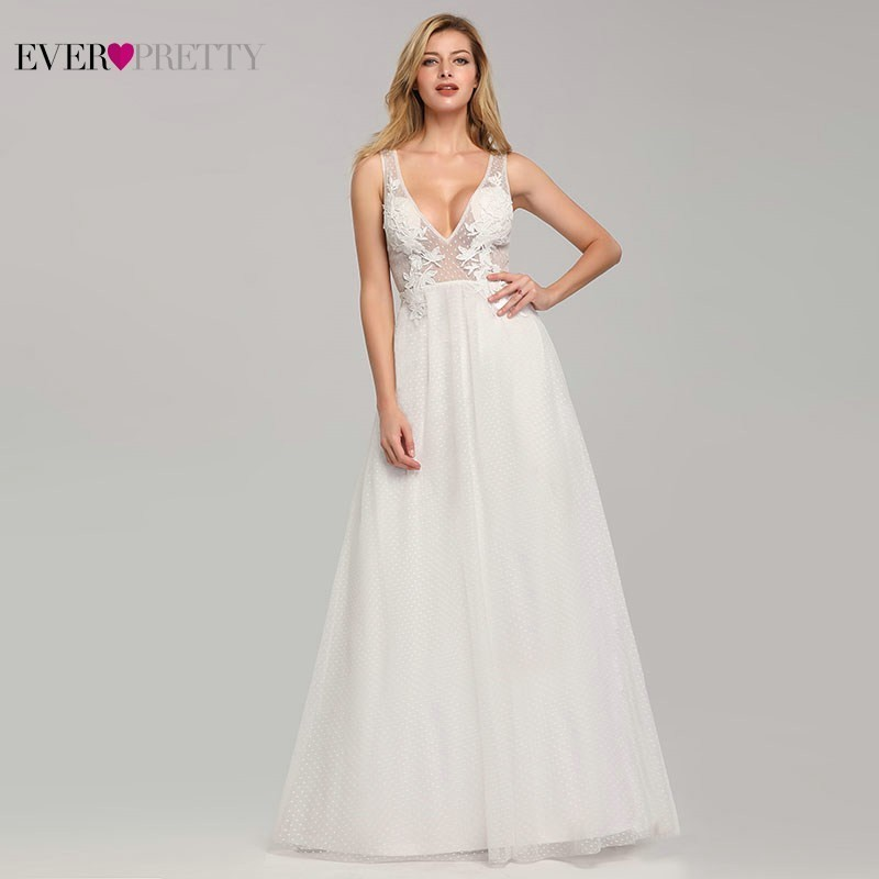 Elegant Wedding Dresses 2020 Ever Pretty EB07833WH A-Line V-Neck Lace Appliques Formal Dresses For Bride Tulle Mariage Gelinlik