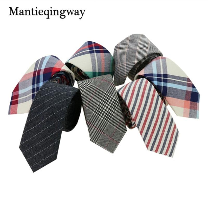 Mantieqingway 6cm Plaid Mens Neck Ties Neckwear Fashion Formal Wear Business Suit Tie Stripe Slim Cravat Cotton Skinny Brand Tie