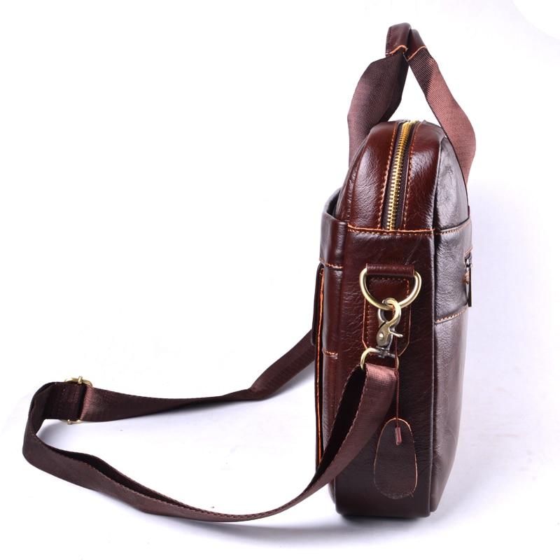 AETOO Men's Travel brown leather briefcase Genuine LeatherCowhide genuine leather laptop bag Handbags Cowhide Men Crossbody Bag