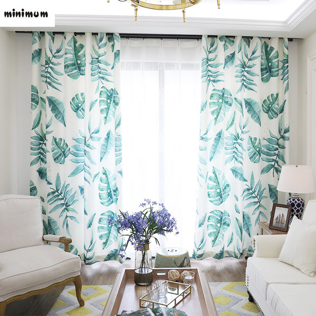 patterned curtains for living room. Original Nordic curtains Modern creativity Banana leaves pattern curtain  Living room bedroom bay window rural