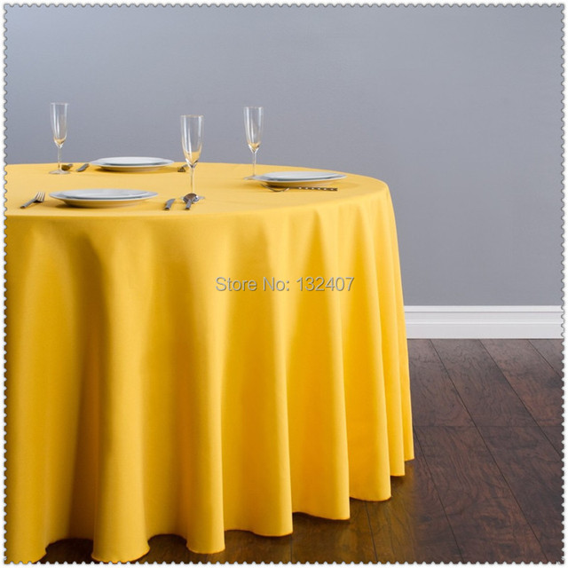 Ordinaire 10pcs Customize Table CoverPolyester Cotton Fabric 108u0027u0027Round Yellow Luxury  Dining Tablecloth Wedding Party