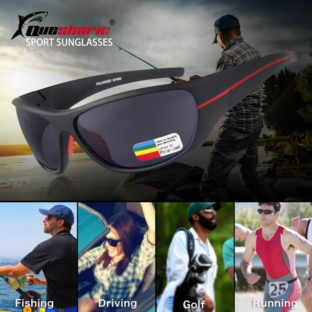 d7890ea9f0b QUESHARK Men Polarized Fishing Sunglasses Black Uv Protection Camping  Hiking Goggles Red Lens Sports Glasses Bike
