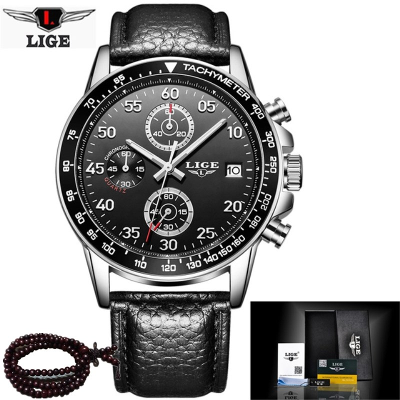 LIGE Men Watches Luxury Brand Waterproof Military Watch Casual Sport Chronograph Leather Quartz Watch Clock Relogio Masculino weide new men quartz casual watch army military sports watch waterproof back light men watches alarm clock multiple time zone