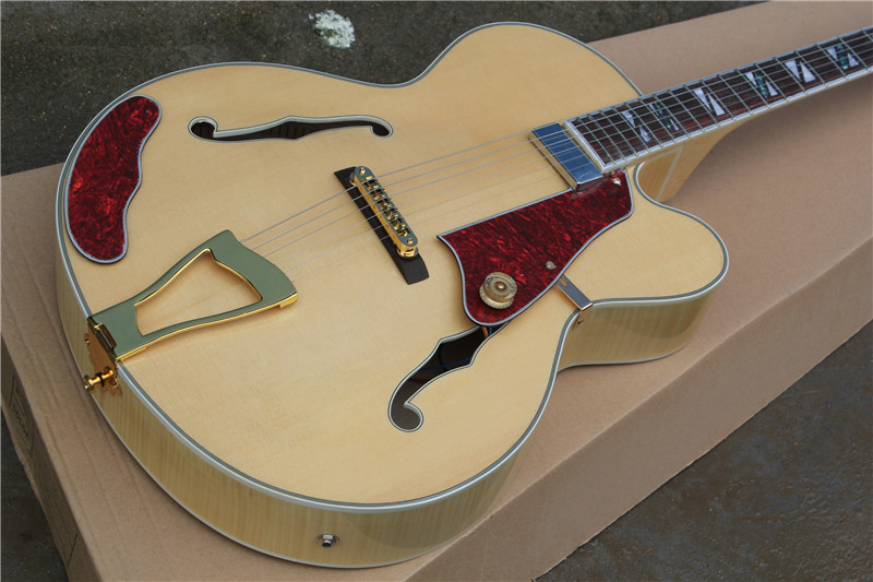 free shipping New Top Quality musical instrument Natural maple  wood L5 hollow body jazz guitar with case 1 2 free shipping top quality new style f hole half hollow body p90 pick up gold top jazz electric guitar in stock