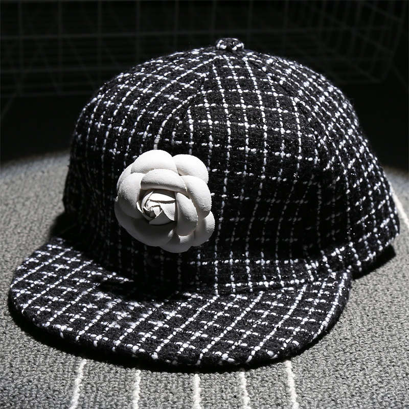 c16b5f37b01 White Black Check Pattern Fashion Camellia Flower Cap Girl Color Patching  Snapback Hat Woman Casual Baseball Cap Adjustable Hat-in Baseball Caps from  ...