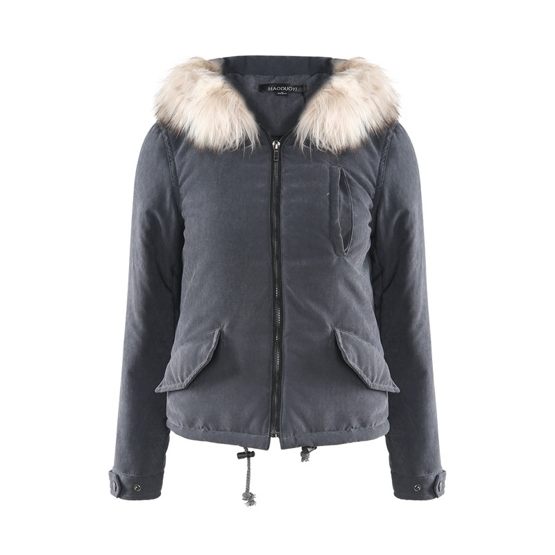 Haoduoyi winter western style fashion slim solid color pockets long sleeve SML XL XXL woman's Casual Faux Fur hooded Parkas coat