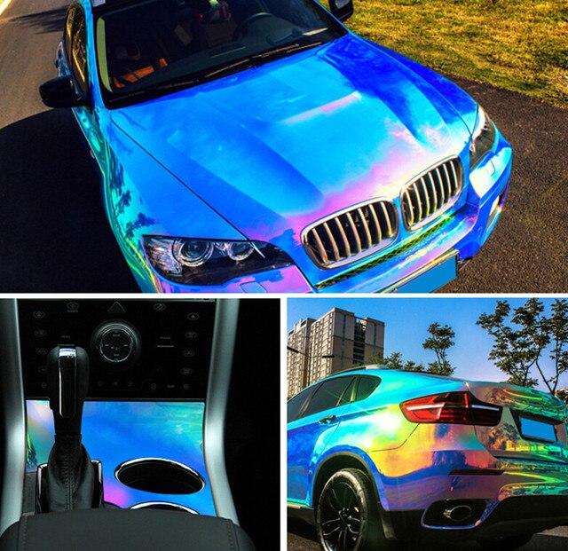 1.38x0.5m Blue Baking Chrome Rainbow Car Wrap Film Rainbow vinyl Car Sticker Air Release High Quality