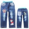 2016 nova chegada de jeans meninos ocasional dos desenhos animados cão de patrulha patrulha roupas meninos calças fit para a primavera bebê meninos calças jeans crianças calças