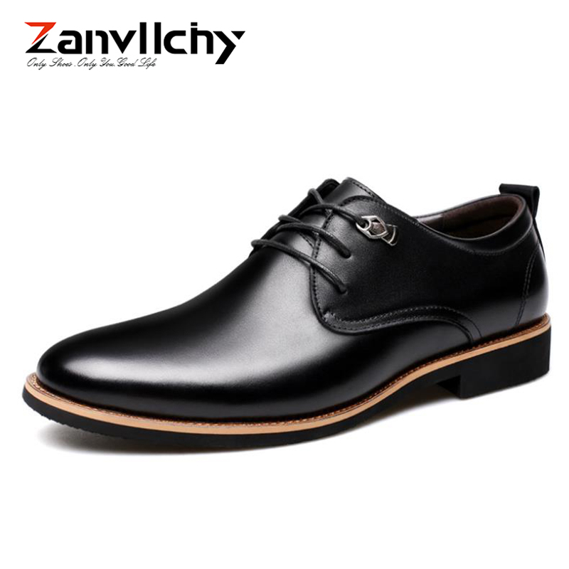 цены New 2018 Men Oxford Shoes Classic Dress Shes Black/Brown Genuine Leather Formal Shoes Men Luxury Wedding Shoes Office Shoes