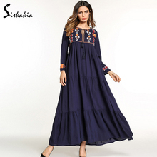 Siskakia ethnic Casual long dress for women Spring Autumn 2018 solid flower Embroidery maxi dresses Muslim Female clothing Blue