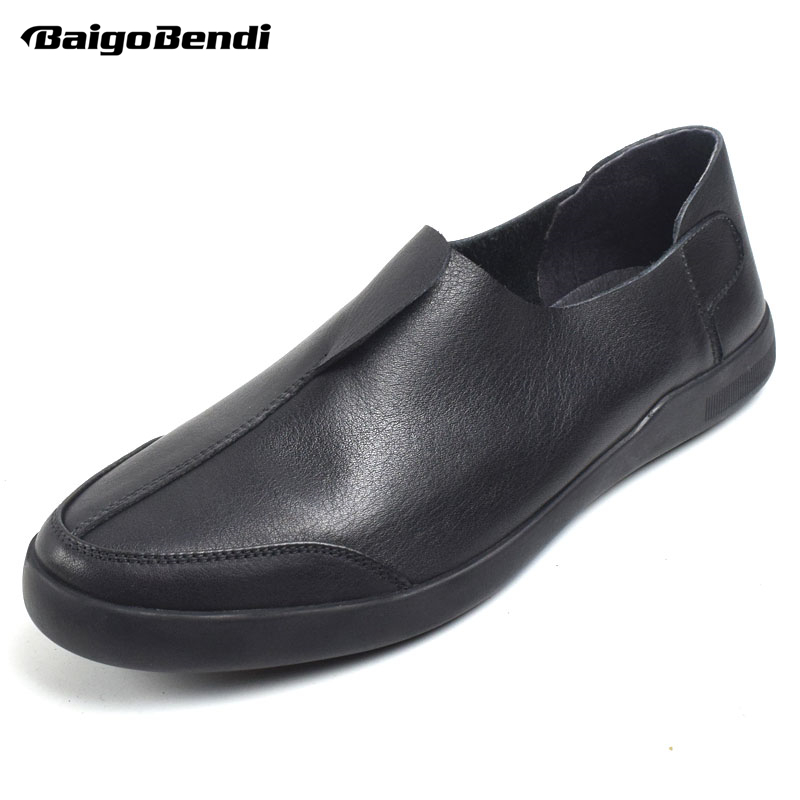 BAIGOBENDI Classical Mens Top Genuine Leather Round Toe Slip On Soft Oxfords Business Man Casual Office Shoes Driving Car Shoes pu slip on plain round toe mens oxfords