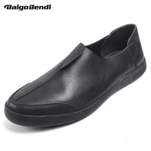 BAIGOBENDI Classical Mens Top Genuine Leather Round Toe Slip On Soft Oxfords Business Man Casual Office Shoes Driving Car Shoes