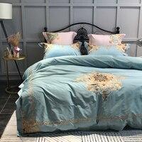 2018 Королевский корт синее постельное белье, королева ковровое покрытие набор египетского хлопка постельное белье набор постельного белья