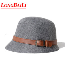 Летние женские льняные Соломенная Панама Sun пляжные кепки для Для женщин кожаный ремешок CSDS009