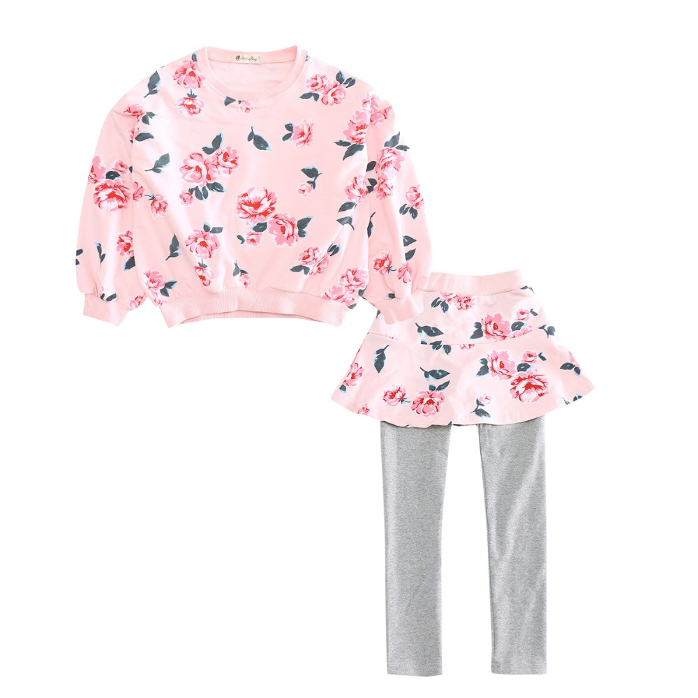 Girls Floral Outfits for Kids Cotton Clothes Sets Girls Print Tops & Pants Suits 4 10 12 Years Child T-shirts Leggings Skirt Set hot princess kids girls outfits clothes baby bow stripe dress shirts tank tops pants shorts