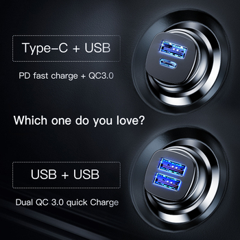 Baseus 30W Quick Charge 4.0 3.0 Car Charger For iPhone 11Pro Xiaomi Mi9 Fast PD AFC SCP for Huawei Supercharge Car Phone Charger 1