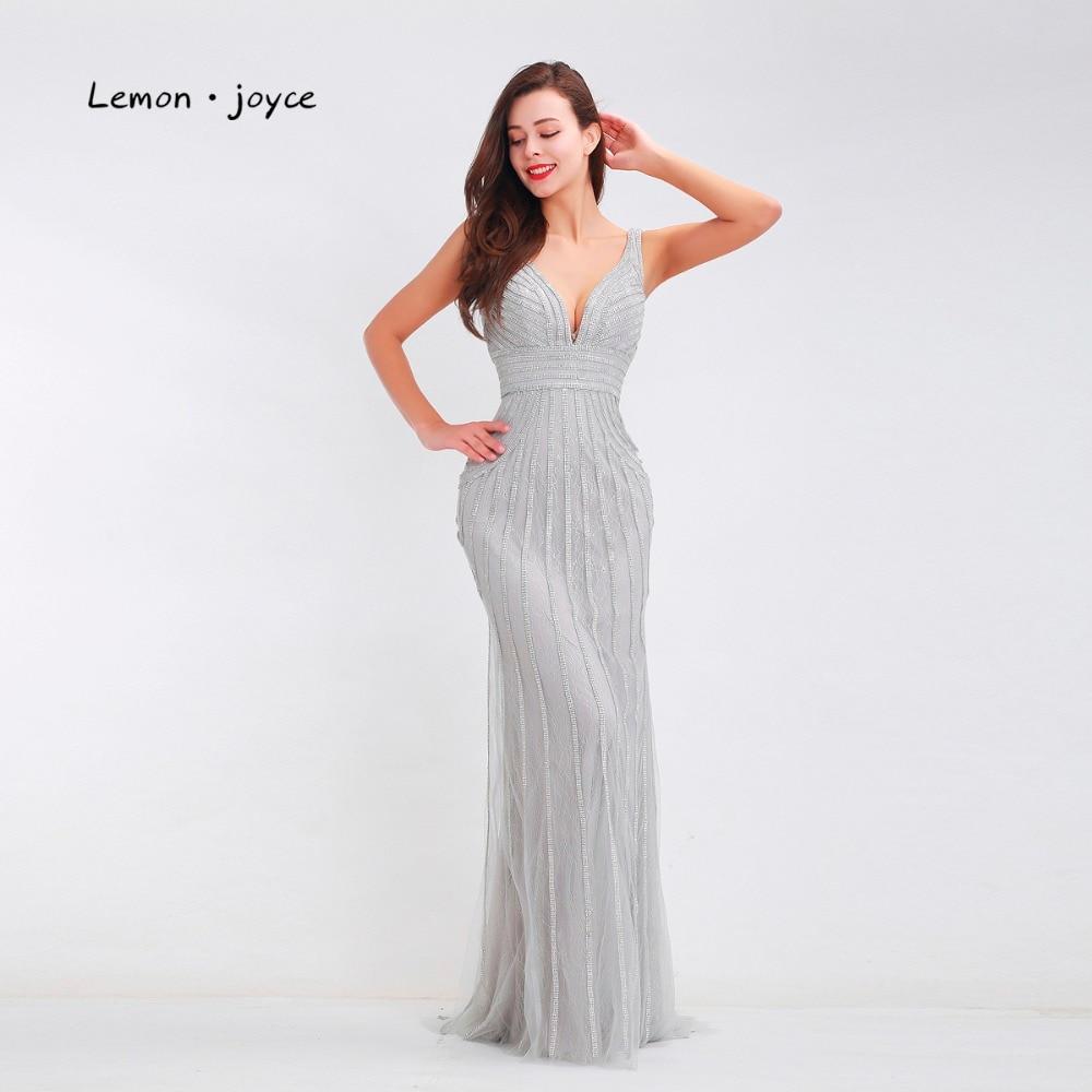 Lemon joyce Formal Gray Evening Dresses 2019 for Women Sexy Deep V Neck Backless Elegant Long