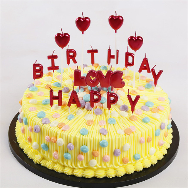 Rose Gold Sliver Red Letter Happy Birthday Candl Cake Party Festival Supplies Candles For
