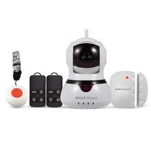 Wolf-Guard DIY Simple Home Burglar Alarm Secutiry System 2.4G WiFi IP Camera 720P with SOS Button Door/Window Sensor Keyfob
